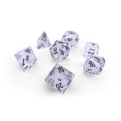 Clear Crystal with Black Font - 7 Piece RPG Dice Set Gemstone