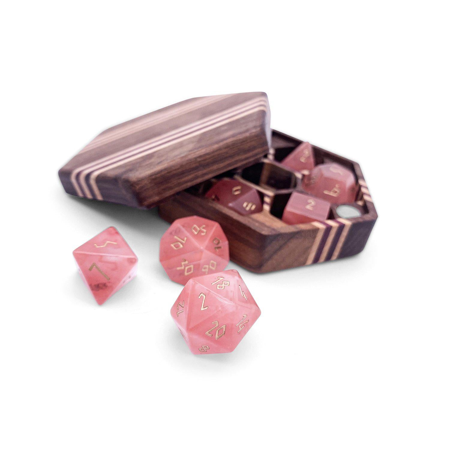 Watermelon Pink Candy Jade 7 Piece RPG Dice Set Gemstone