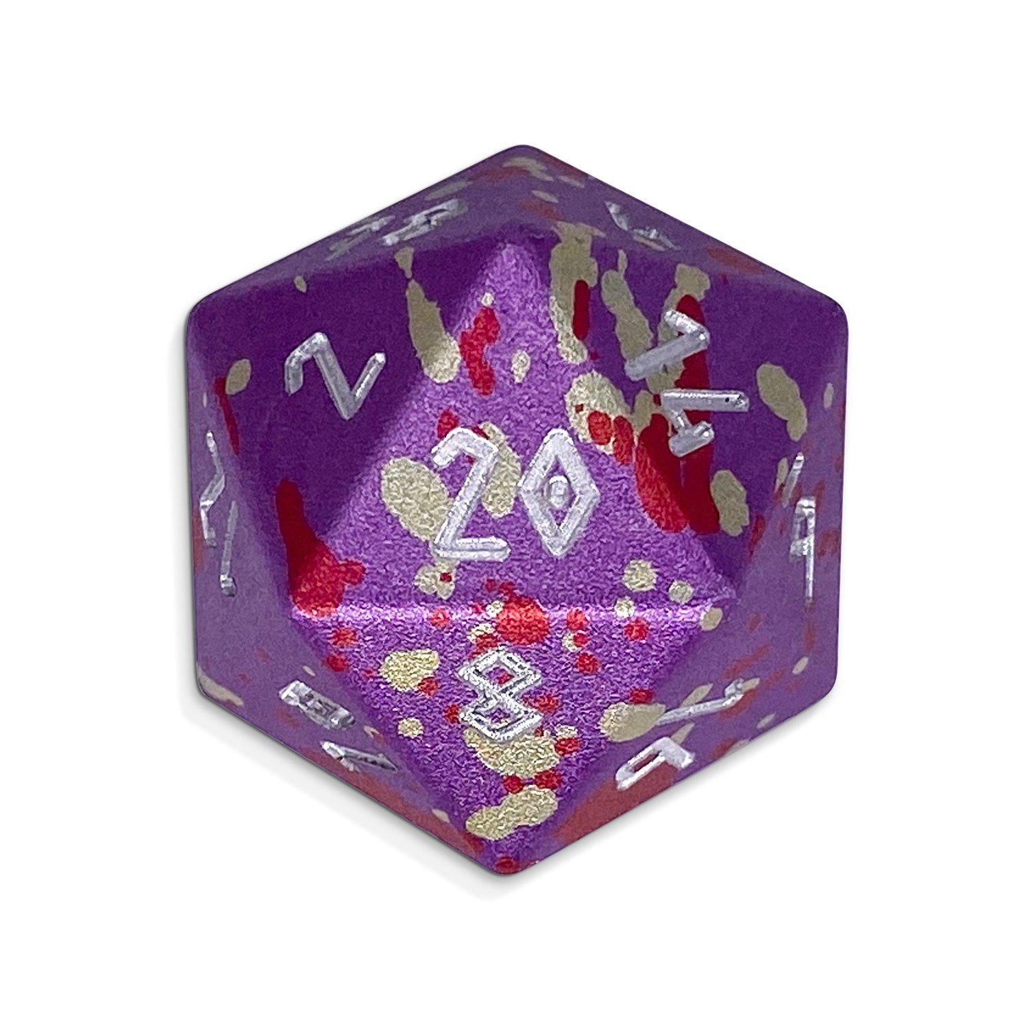 Single Wondrous Dice® D20 in Purple Wyrm by Norse Foundry® 6063 Aircraft Grade Aluminum