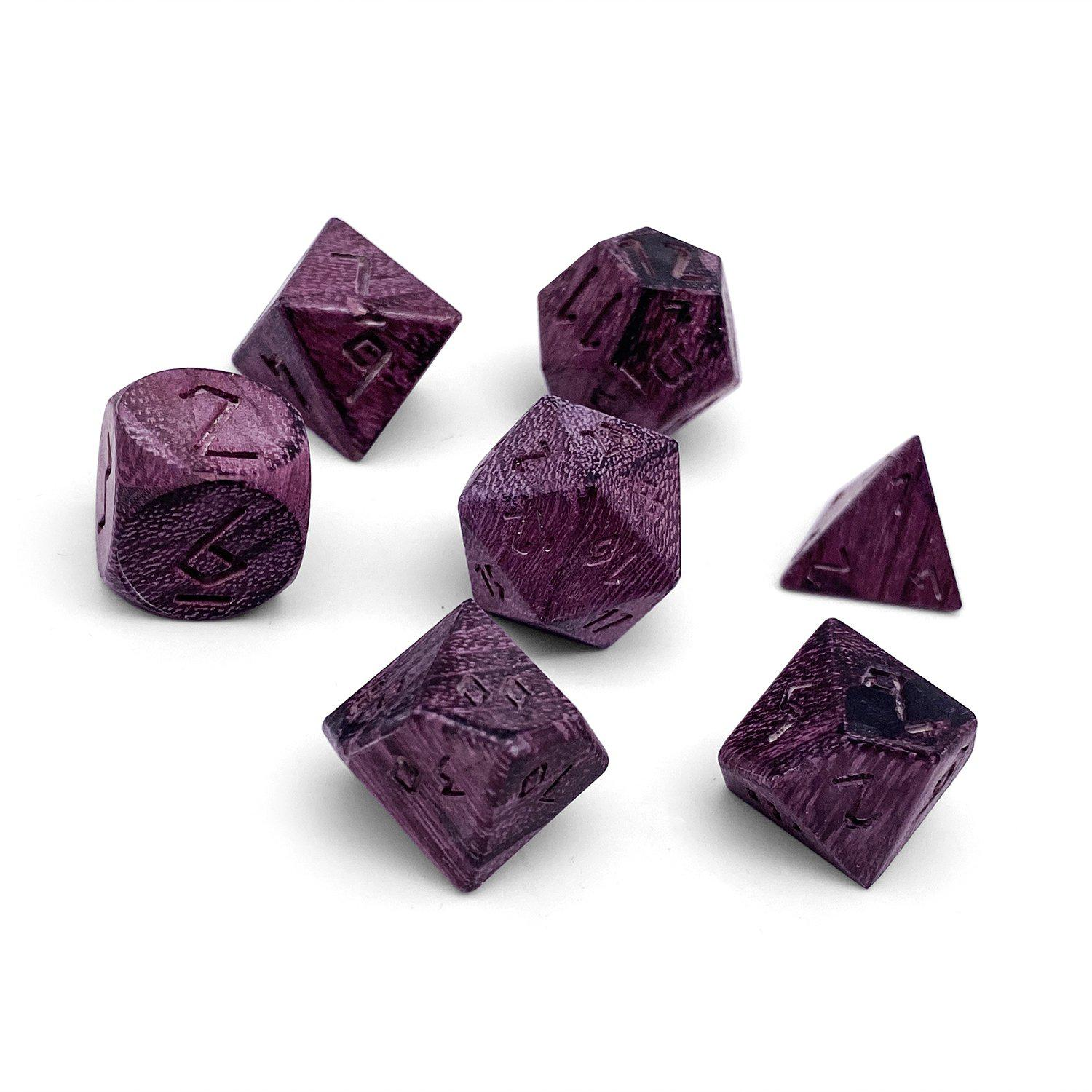 Purple Heart - 7 Piece RPG Wooden Dice Set