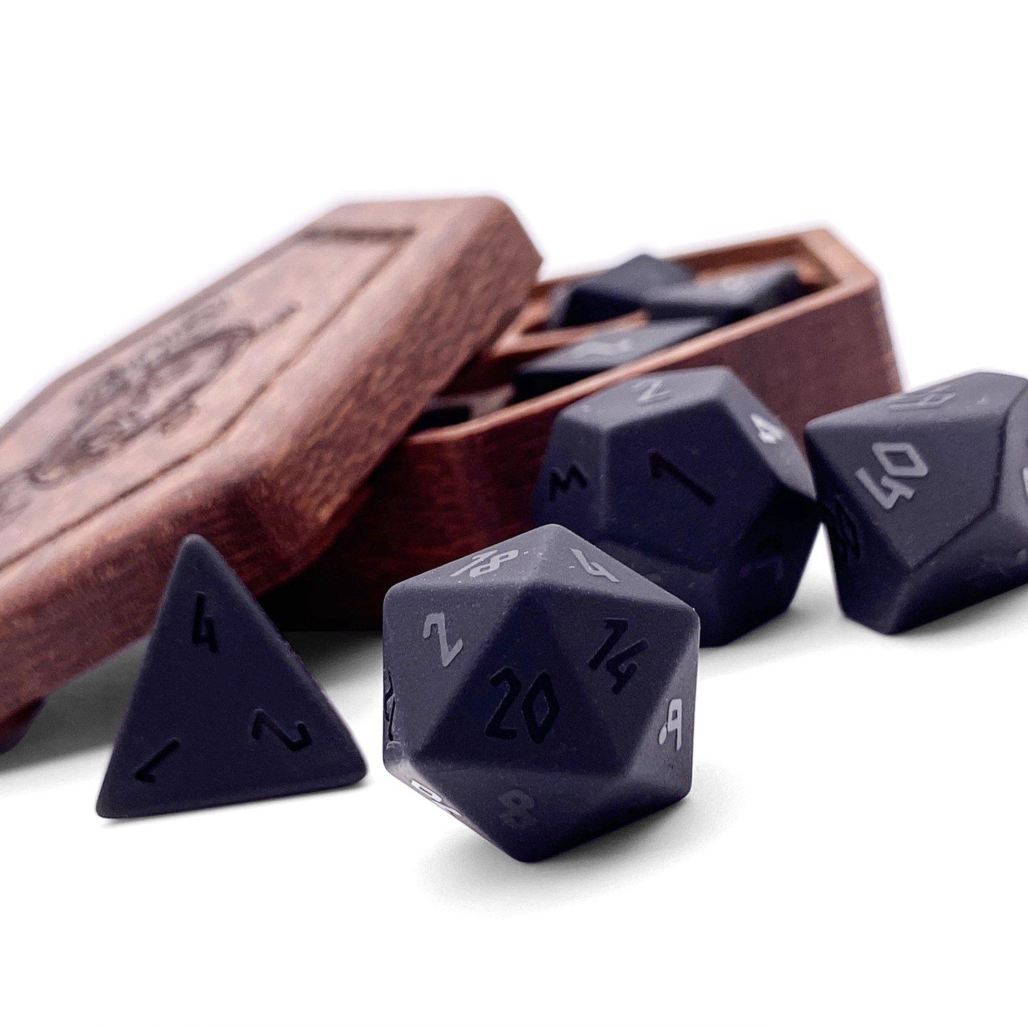Black Raised Obsidian Gemstone 7 piece RPG Dice Set