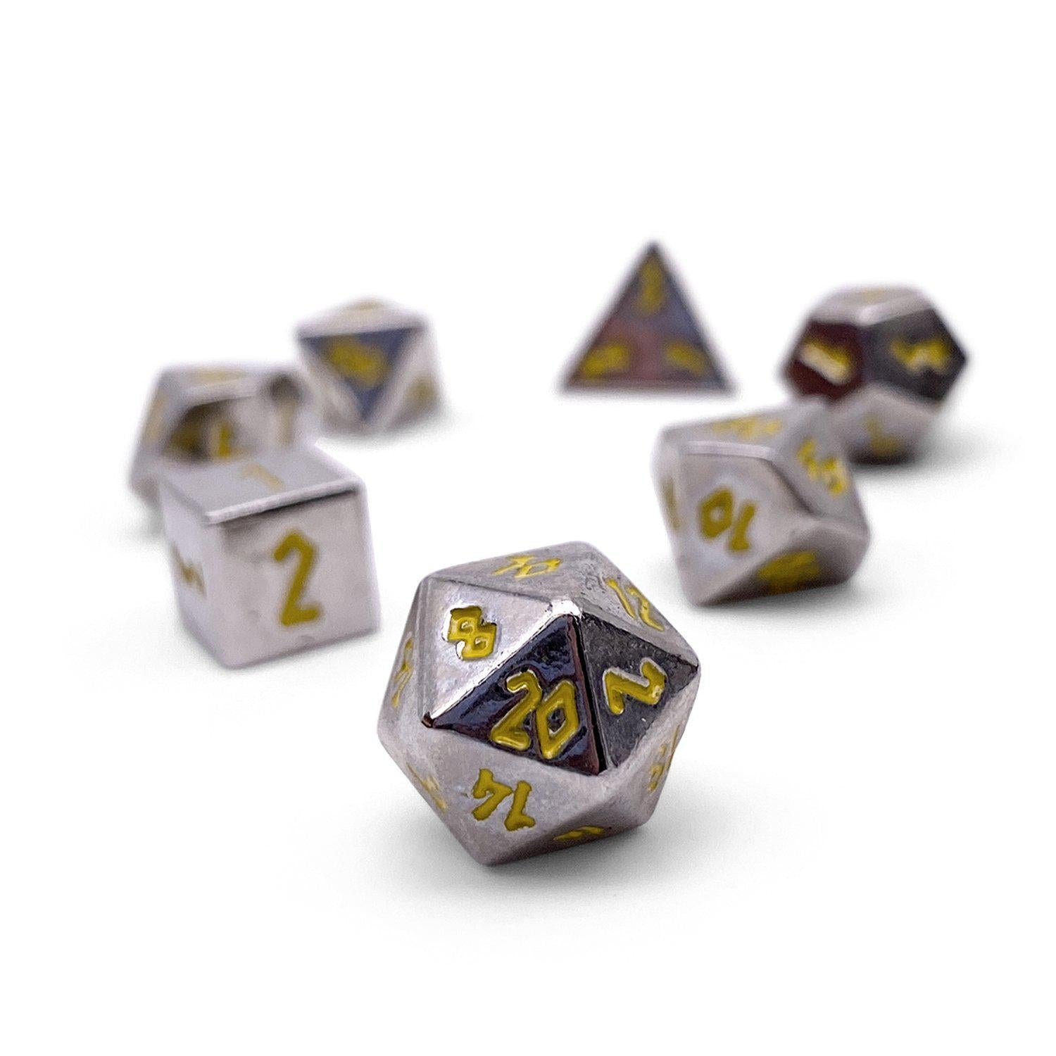 Silver Dragon Pebble ™ Dice - 10mm Alloy Mini Polyhedral Dice Set