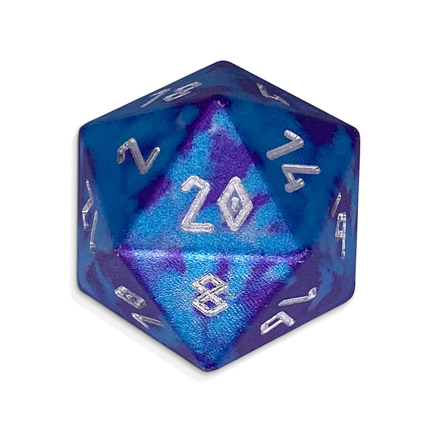 Single Wondrous Dice® D20 in Time Warp by Norse Foundry® 6063 Aircraft Grade Aluminum