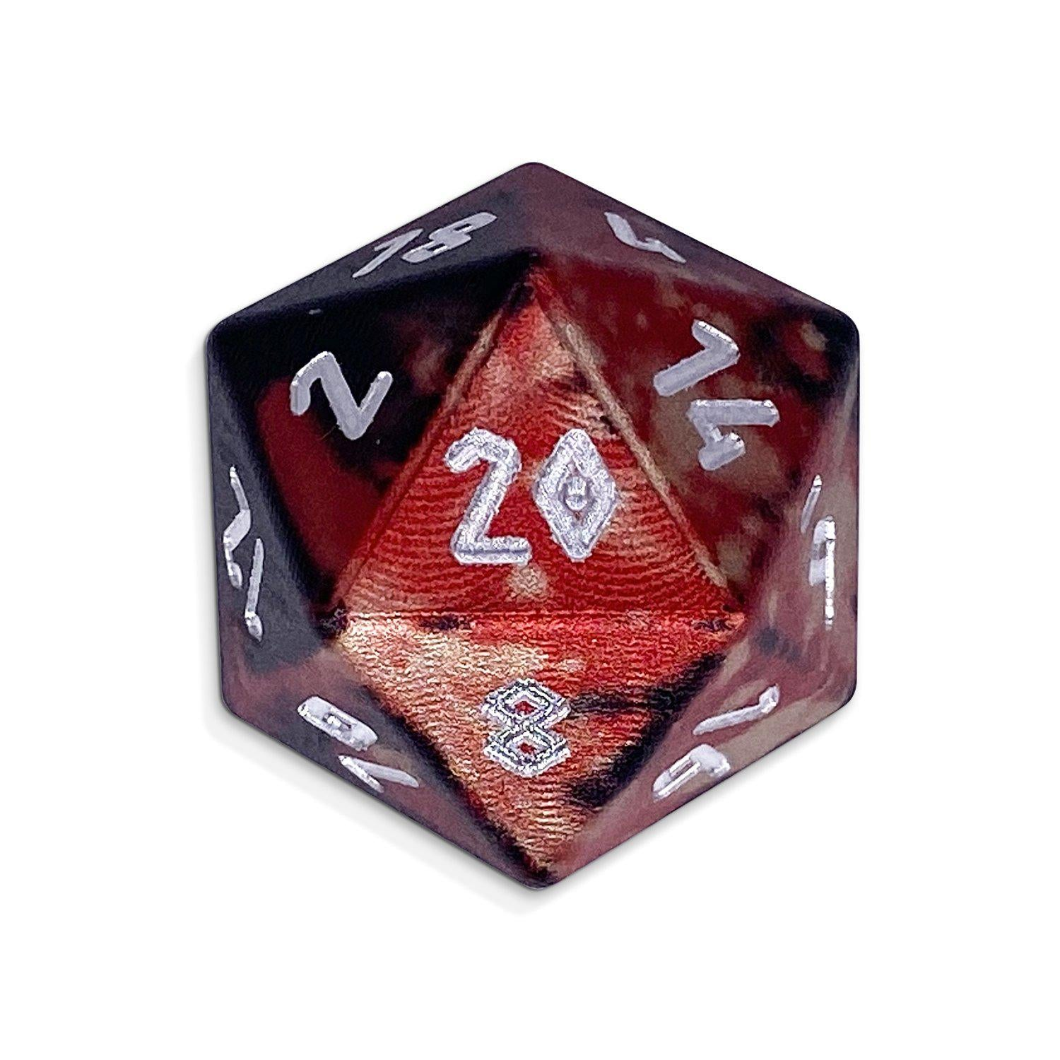 Single Wondrous Dice® D20 in Vampire Lord by Norse Foundry® 6063 Aircraft Grade Aluminum