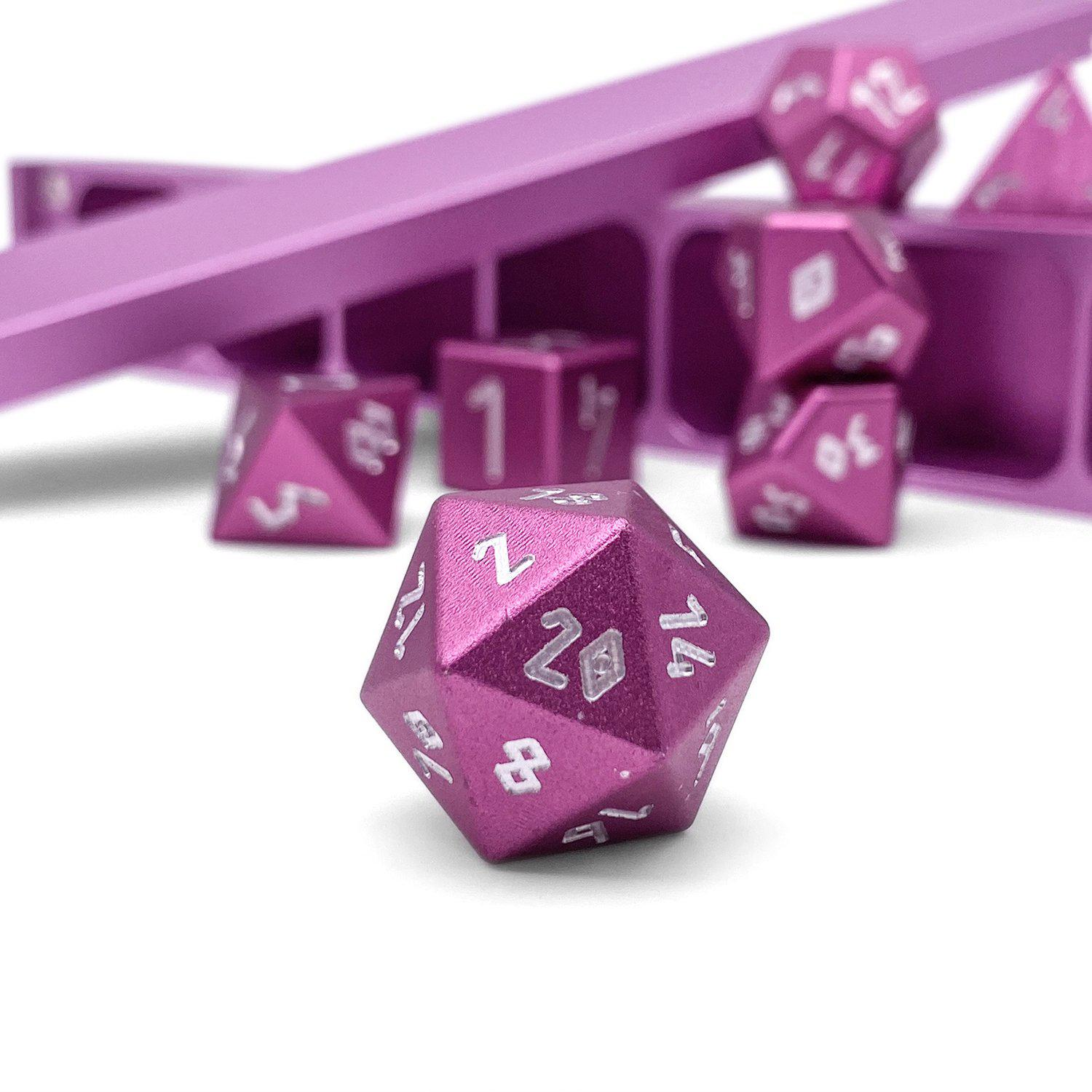 Precision CNC Aluminum Dice Set with Dice Vault – Warlock Pink