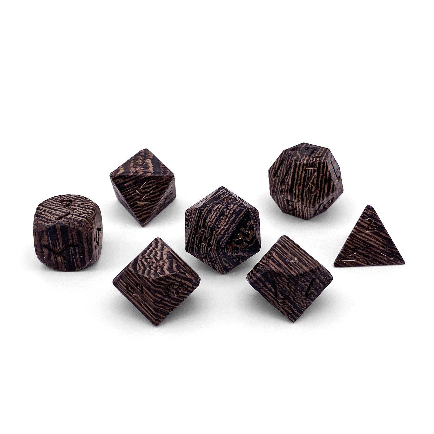 Wenge - 7 Piece RPG Wooden Dice Set