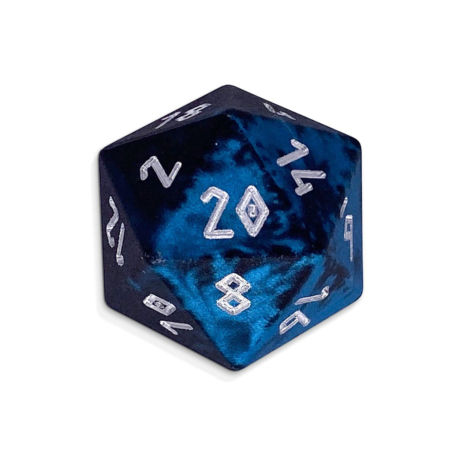 Single Wondrous Dice® D20 in Willow of the Wisp by Norse Foundry® 6063 Aircraft Grade Aluminum