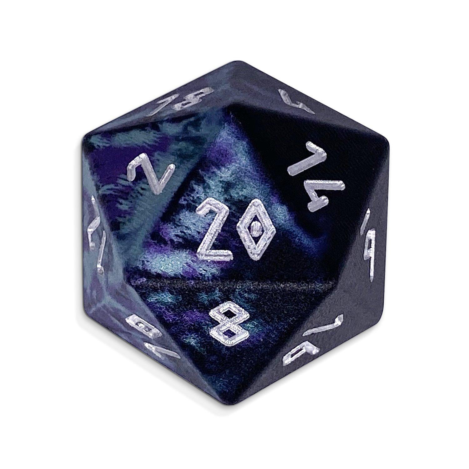 Single Wondrous Dice® D20 in Witches Cauldron by Norse Foundry® 6063 Aircraft Grade Aluminum
