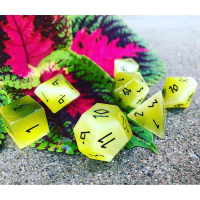 Yellow Cats Eye 7 Piece RPG Dice Set Gemstone