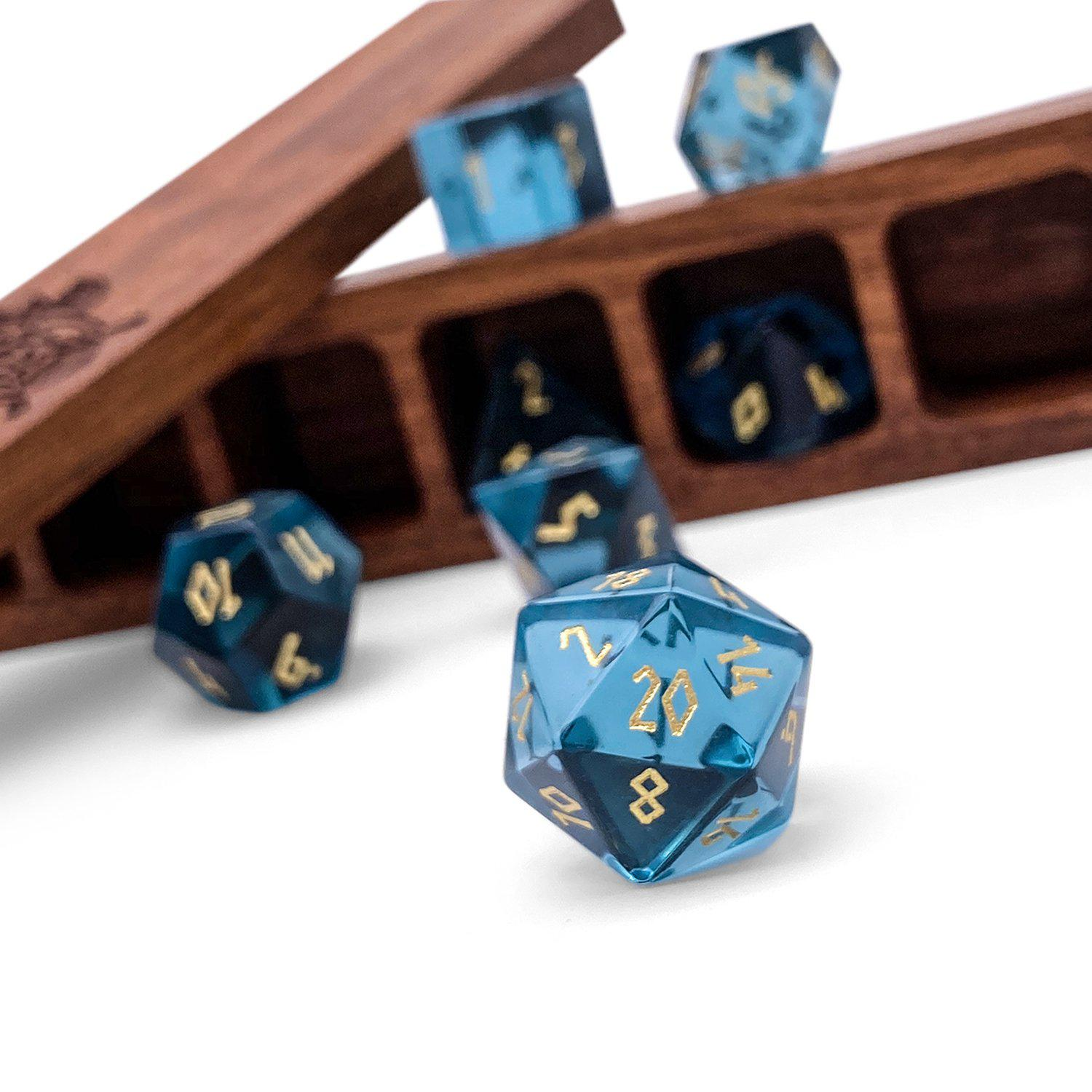Zircon Glass - Aquamarine - 7 Piece Glass Dice Set