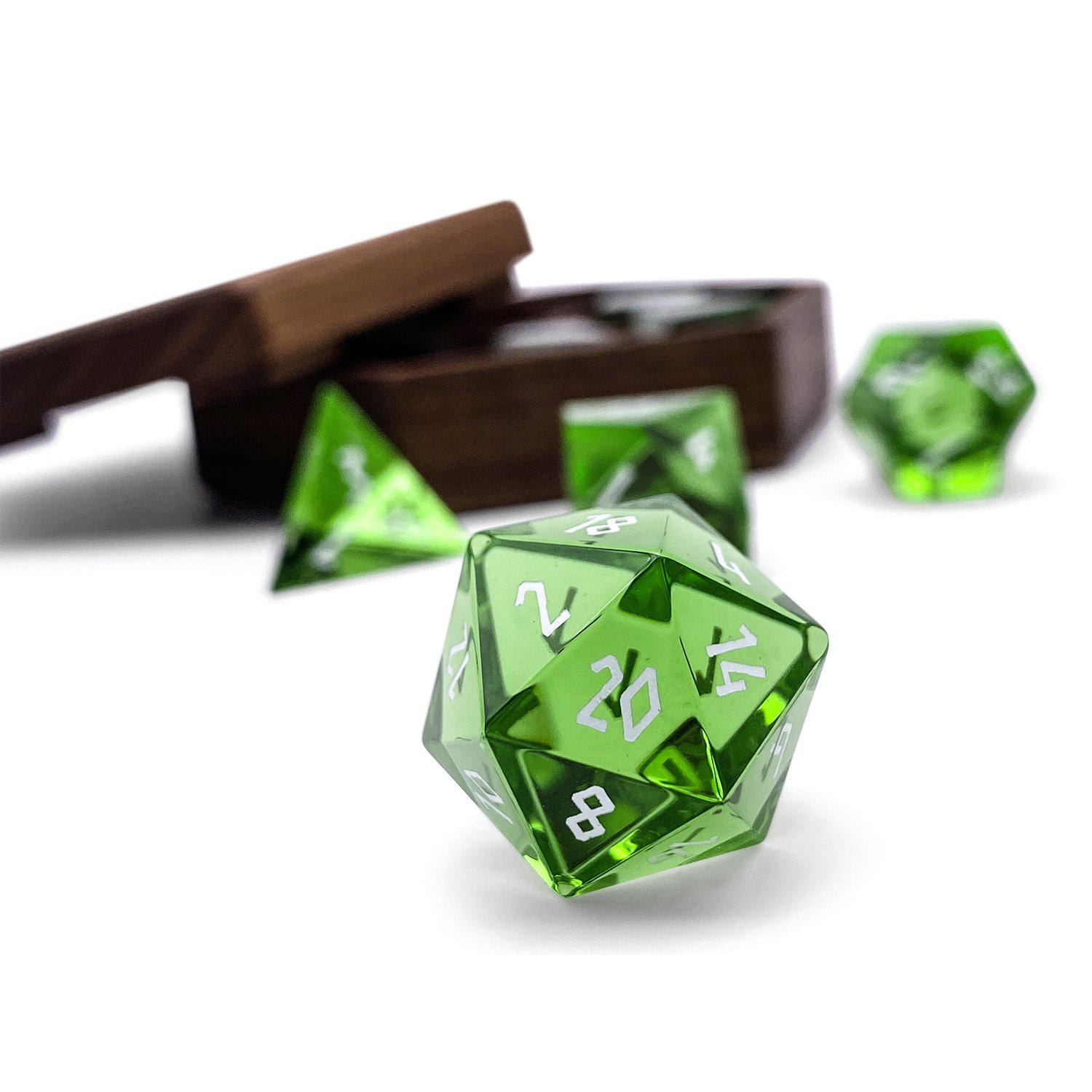 Zircon Glass - Emerald - 7 Piece Glass Dice Set