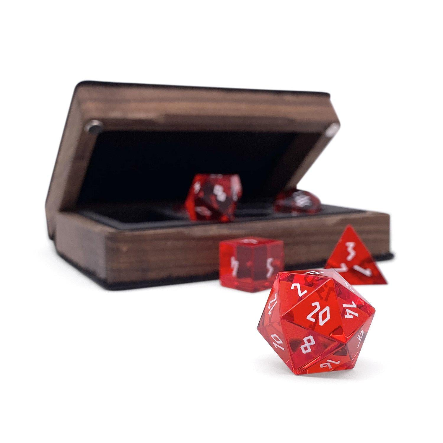 Zircon Glass - Ruby - 7 Piece Glass Dice Set