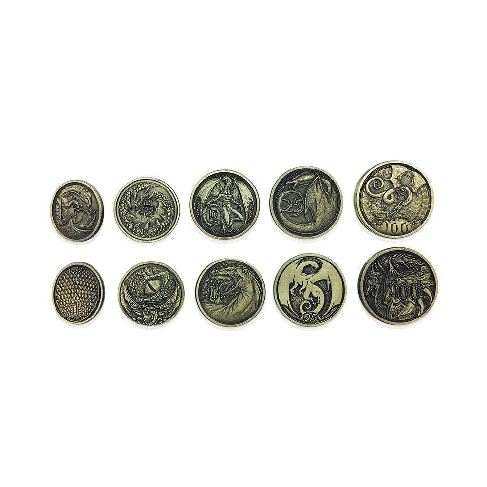 Adventure Coins - Dragon Metal Coins Set of 10-Coins-Norse Foundry-DND Dice-Polyhedral Dice-D20-Metal Dice-Precision Dice-Luxury Dice-Dungeons and Dragons-D&D-