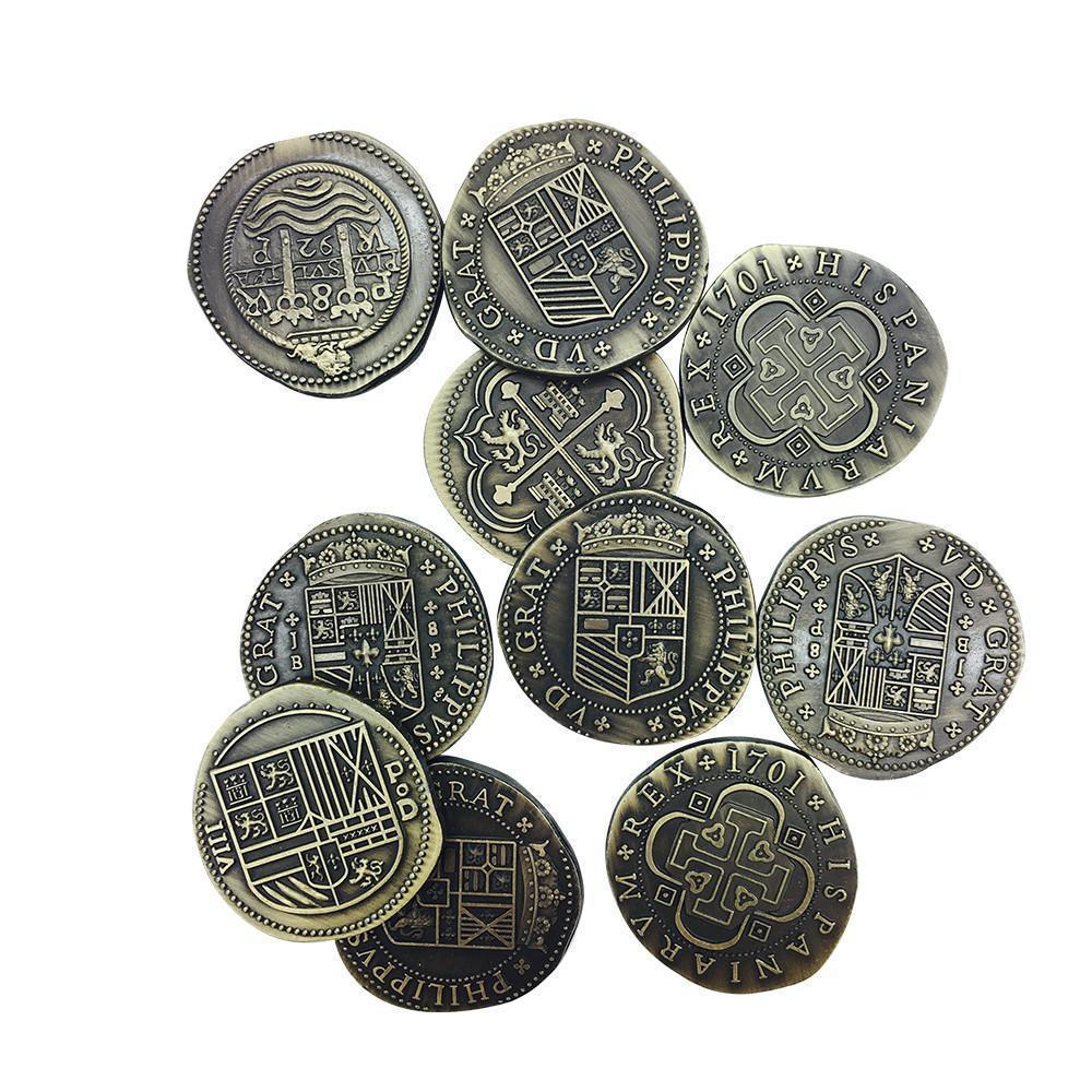Adventure Coins – Pirate Doubloon Metal Coins Variety Pack Set of 10 Historical-Coins-Norse Foundry-DND Dice-Polyhedral Dice-D20-Metal Dice-Precision Dice-Luxury Dice-Dungeons and Dragons-D&D-