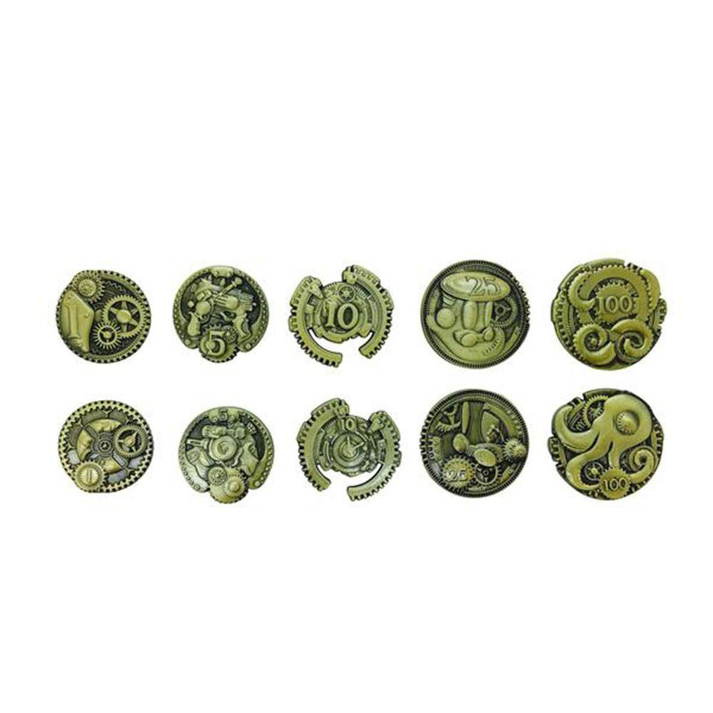 Adventure Coins – Steampunk Metal Coins Set of 10-Coins-Norse Foundry-DND Dice-Polyhedral Dice-D20-Metal Dice-Precision Dice-Luxury Dice-Dungeons and Dragons-D&D-