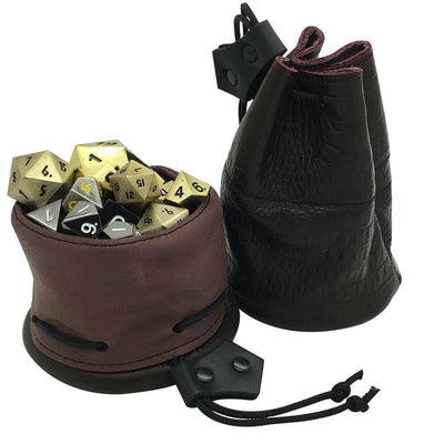 Black and Maroon Leather Dice Bag / Dice Cup Transformer-Leather Dice Bag-Norse Foundry-DND Dice-Polyhedral Dice-D20-Metal Dice-Precision Dice-Luxury Dice-Dungeons and Dragons-D&D-