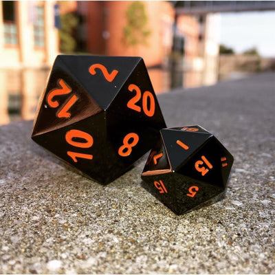 Black Lava - Boulder® 45mm D20 Metal Dice-Dice-Norse Foundry-DND Dice-Polyhedral Dice-D20-Metal Dice-Precision Dice-Luxury Dice-Dungeons and Dragons-D&D-