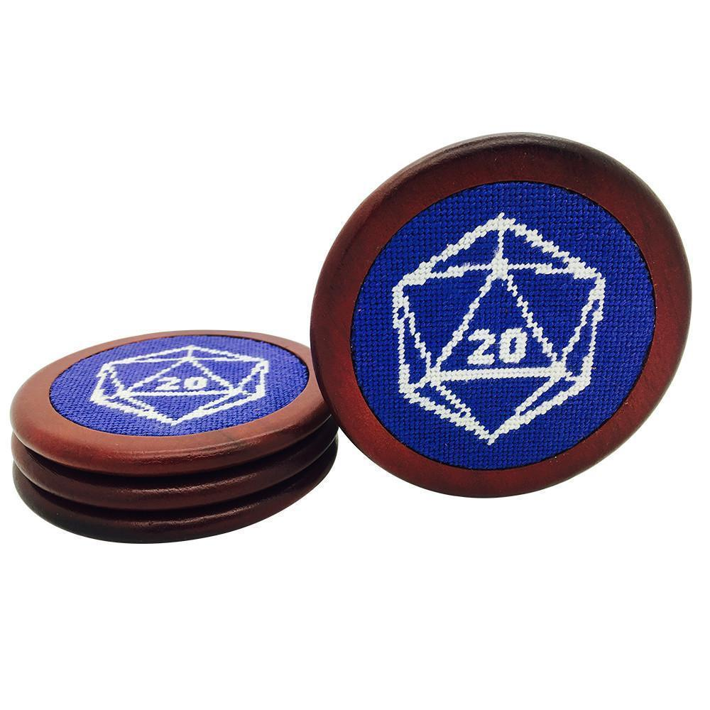 Blue D20 Wooden Coasters RPG Needlepoint-Accessories-Norse Foundry-DND Dice-Polyhedral Dice-D20-Metal Dice-Precision Dice-Luxury Dice-Dungeons and Dragons-D&D-