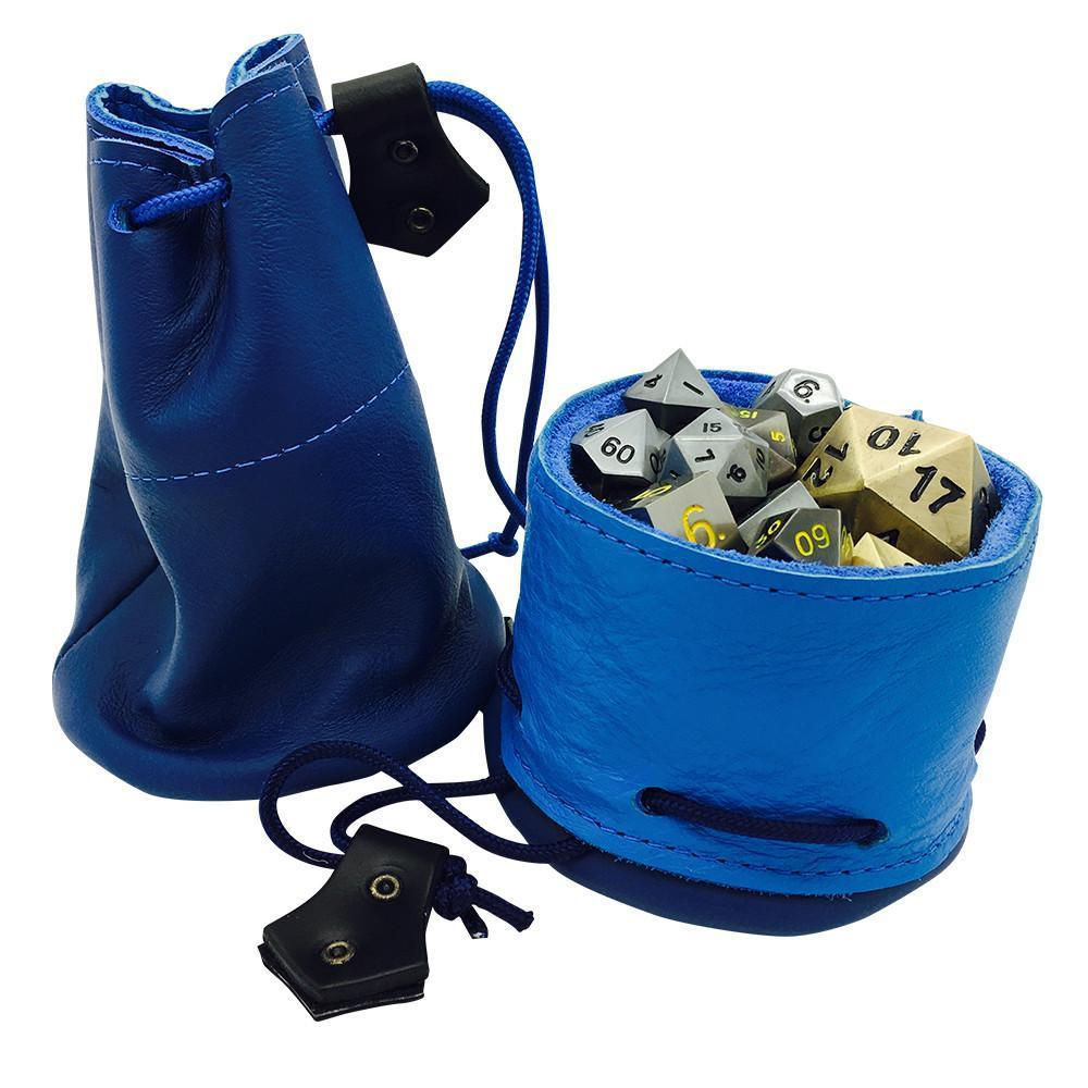 Blue / Light Blue Leather Dice Bag / Dice Cup Transformer-Leather Dice Bag-Norse Foundry-DND Dice-Polyhedral Dice-D20-Metal Dice-Precision Dice-Luxury Dice-Dungeons and Dragons-D&D-