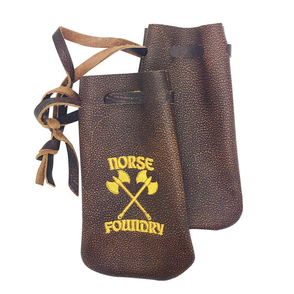 Bomber Brown Leather Dice Bag-Leather Dice Bag-Norse Foundry-DND Dice-Polyhedral Dice-D20-Metal Dice-Precision Dice-Luxury Dice-Dungeons and Dragons-D&D-