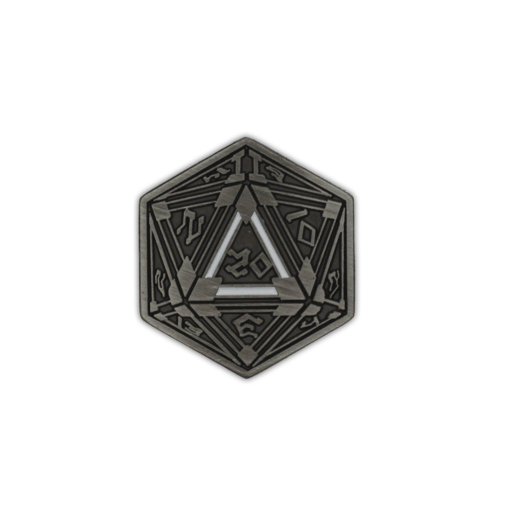 D20 Crit Metal Pin Norse Foundry Silver Plated 25MM-Pins-Norse Foundry-DND Dice-Polyhedral Dice-D20-Metal Dice-Precision Dice-Luxury Dice-Dungeons and Dragons-D&D-