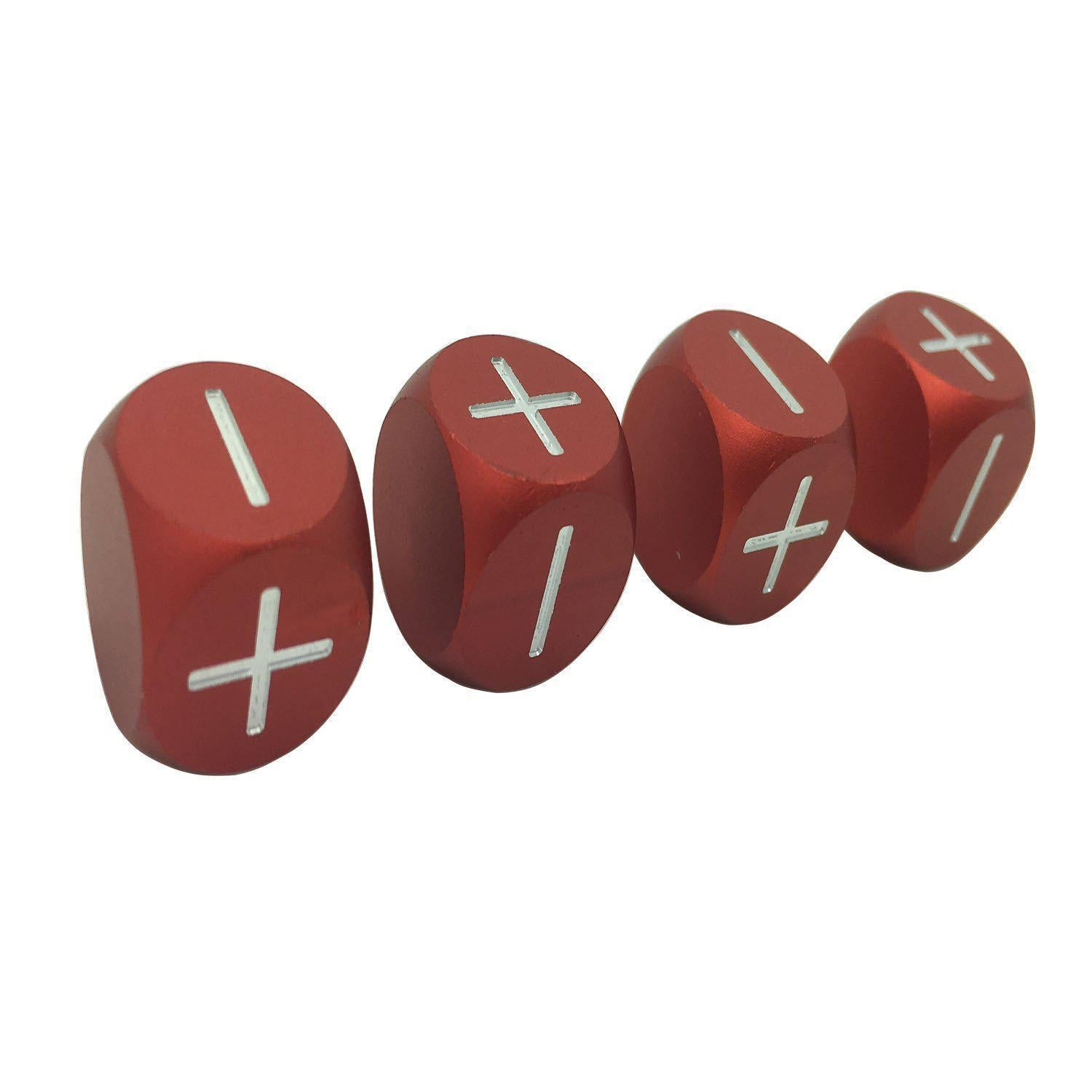 Devil Red - Set of 4 Precision CNC Aluminum Fate / Fudge Dice-Dice-Norse Foundry-DND Dice-Polyhedral Dice-D20-Metal Dice-Precision Dice-Luxury Dice-Dungeons and Dragons-D&D-