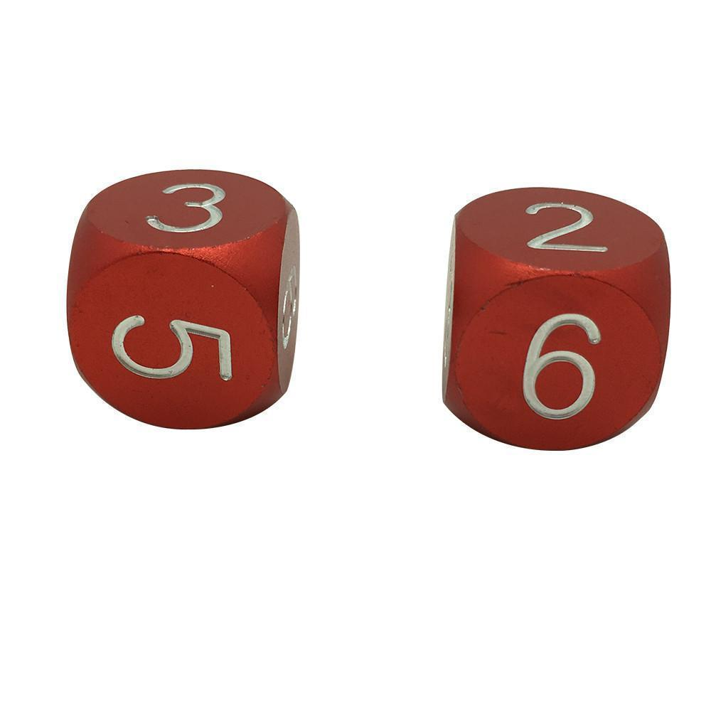 Devils Red - Pair of Precision CNC Aluminum Dice D6's with Round Corners-Dice-Norse Foundry-DND Dice-Polyhedral Dice-D20-Metal Dice-Precision Dice-Luxury Dice-Dungeons and Dragons-D&D-