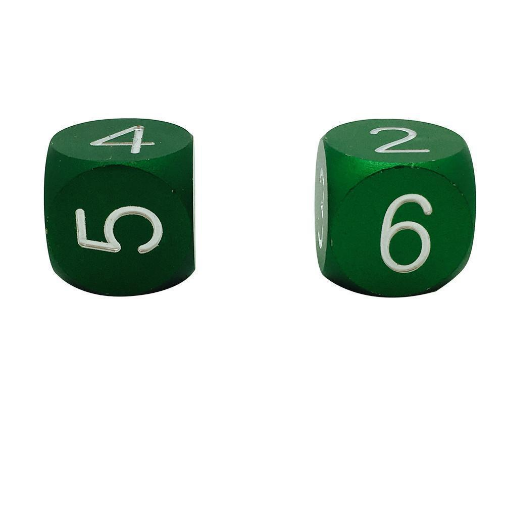 Druid Green - Pair of Precision CNC Aluminum Dice D6's with Round Corners-Dice-Norse Foundry-DND Dice-Polyhedral Dice-D20-Metal Dice-Precision Dice-Luxury Dice-Dungeons and Dragons-D&D-