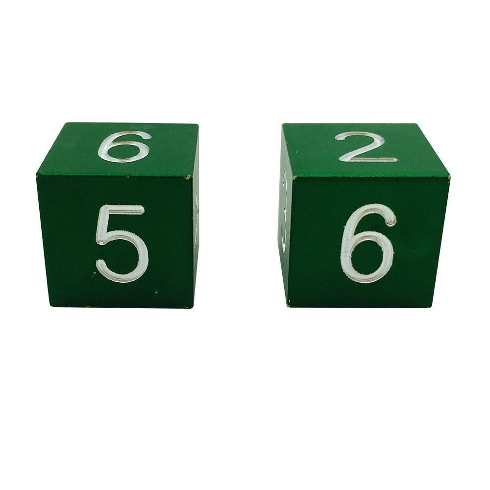 Druid Green - Pair of Precision CNC Aluminum Dice D6's with Sharp Corners-Dice-Norse Foundry-DND Dice-Polyhedral Dice-D20-Metal Dice-Precision Dice-Luxury Dice-Dungeons and Dragons-D&D-