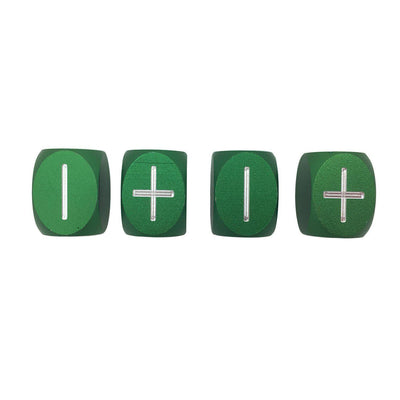 Druid Green - Set of 4 Precision CNC Aluminum Fate / Fudge Dice-Dice-Norse Foundry-DND Dice-Polyhedral Dice-D20-Metal Dice-Precision Dice-Luxury Dice-Dungeons and Dragons-D&D-
