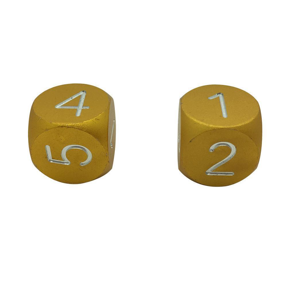 Gold Coin - Pair of Precision CNC Aluminum Dice D6's with Round Corners-Dice-Norse Foundry-DND Dice-Polyhedral Dice-D20-Metal Dice-Precision Dice-Luxury Dice-Dungeons and Dragons-D&D-