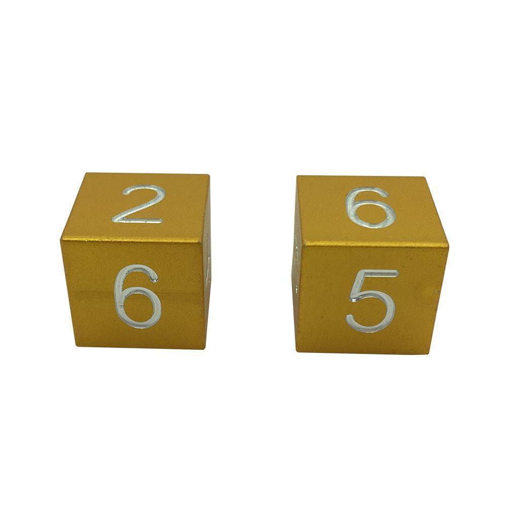 Gold Coin - Pair of Precision CNC Aluminum Dice D6's with Sharp Corners-Dice-Norse Foundry-DND Dice-Polyhedral Dice-D20-Metal Dice-Precision Dice-Luxury Dice-Dungeons and Dragons-D&D-