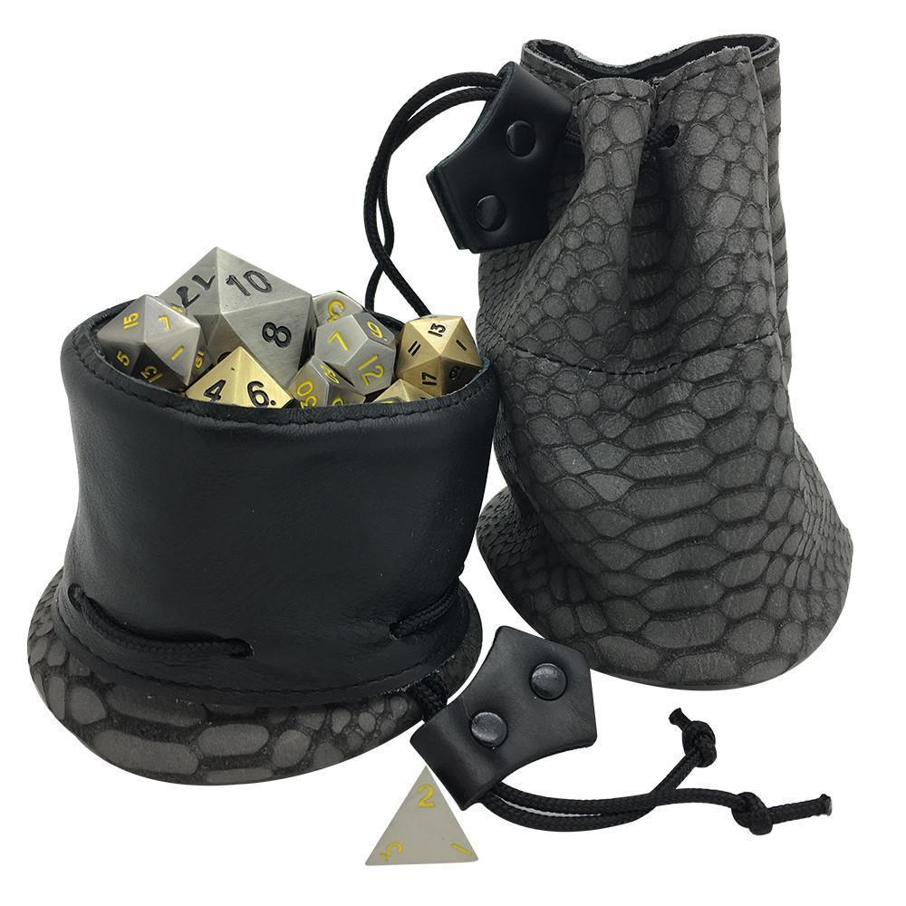 Gray and Black Dragon Scale Leather Dice Bag / Dice Cup Transformer-Leather Dice Bag-Norse Foundry-DND Dice-Polyhedral Dice-D20-Metal Dice-Precision Dice-Luxury Dice-Dungeons and Dragons-D&D-
