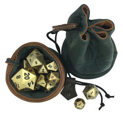 Green and Brown Leather Dice Bag / Dice Cup Transformer-Leather Dice Bag-Norse Foundry-DND Dice-Polyhedral Dice-D20-Metal Dice-Precision Dice-Luxury Dice-Dungeons and Dragons-D&D-