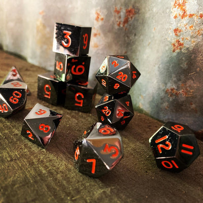 Black Lava Metal Dice Set