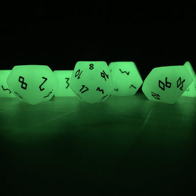 Glow Stone Green - 7 Piece RPG Dice Set Gemstone