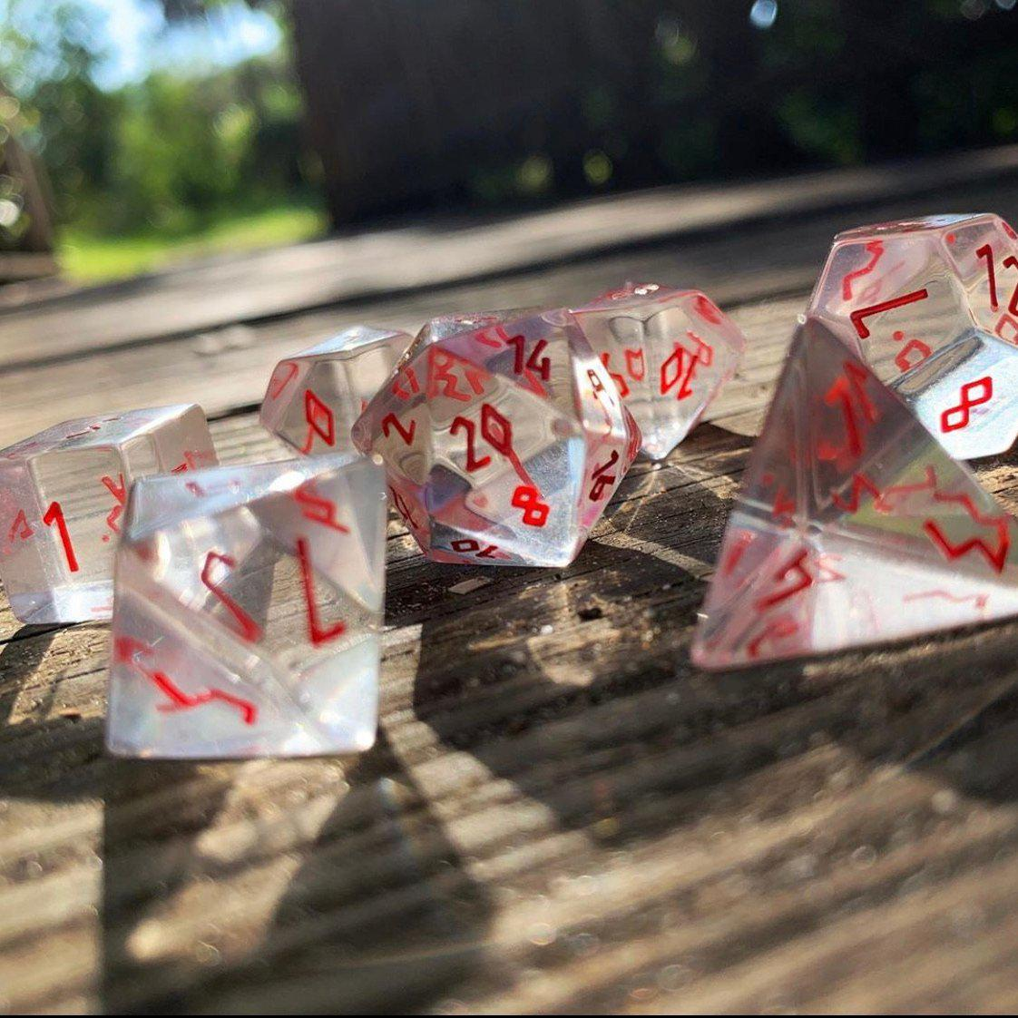 Clear Crystal with Red Font - 7 Piece RPG Dice Set Gemstone