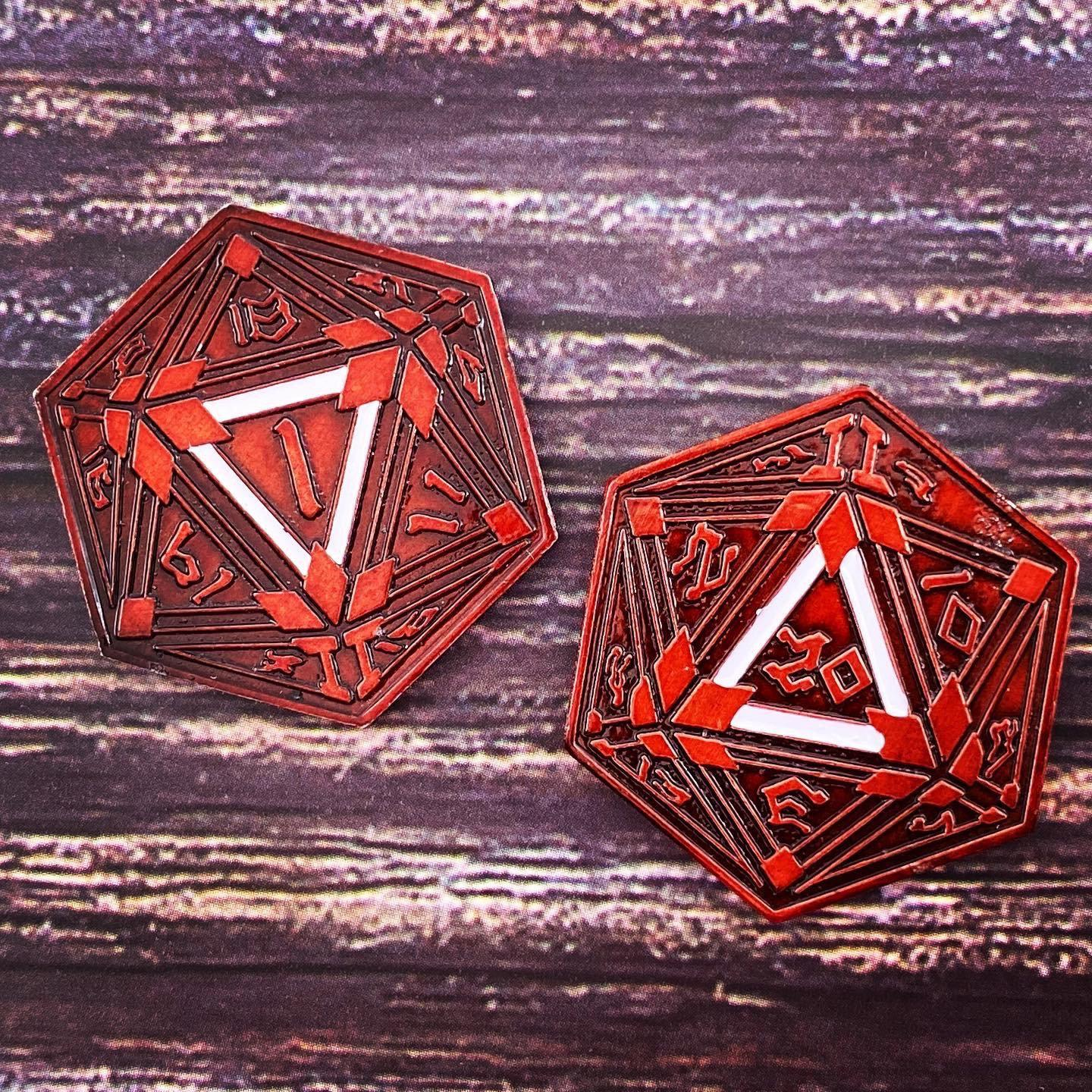 Metal RPG Crit/Fail Coin Red Plated-25mm
