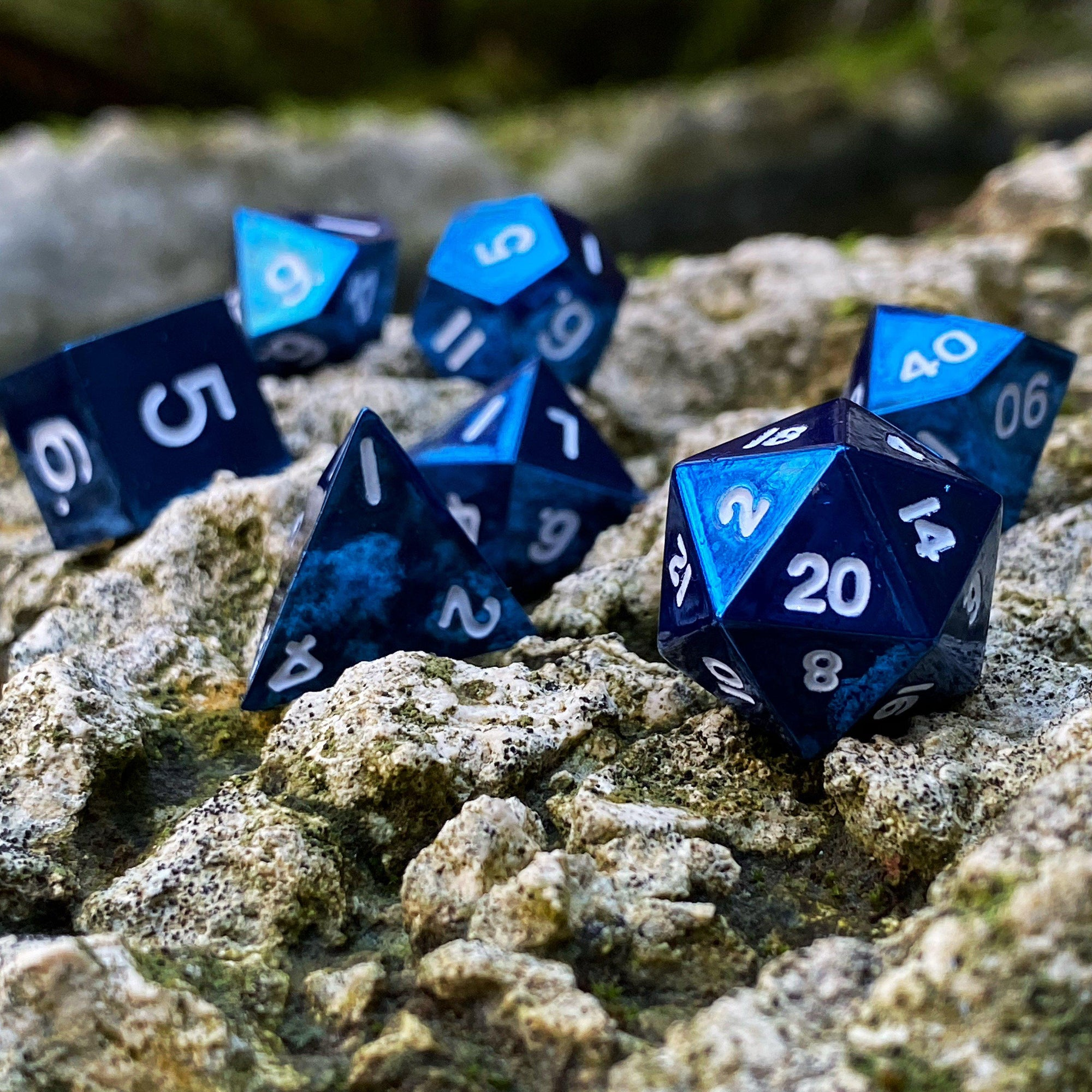 Celestial Blue - 7 Piece Metal Dice Set