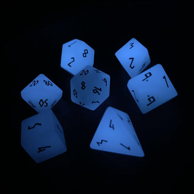 Glow Stone Blue - 7 Piece RPG Dice Set Gemstone