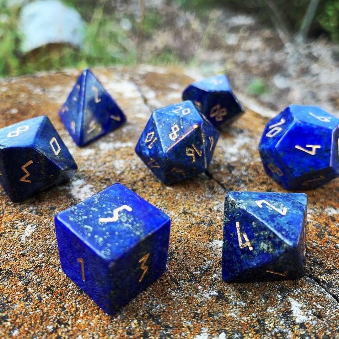 Lapis Lazuli 7 Piece RPG Dice Set Gemstone