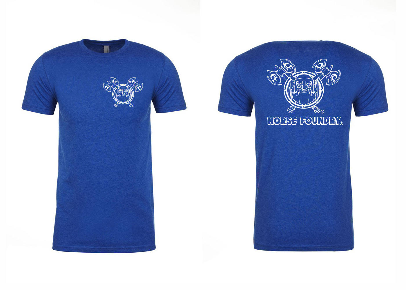 Blue and White Next Level Norse Foundry Soft T-Shirt