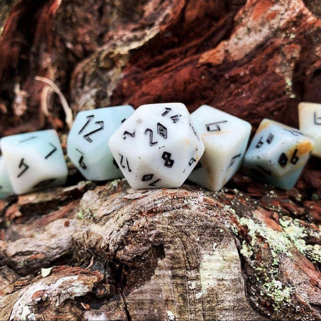 Amazonite 7 Piece RPG Dice Set Gemstone