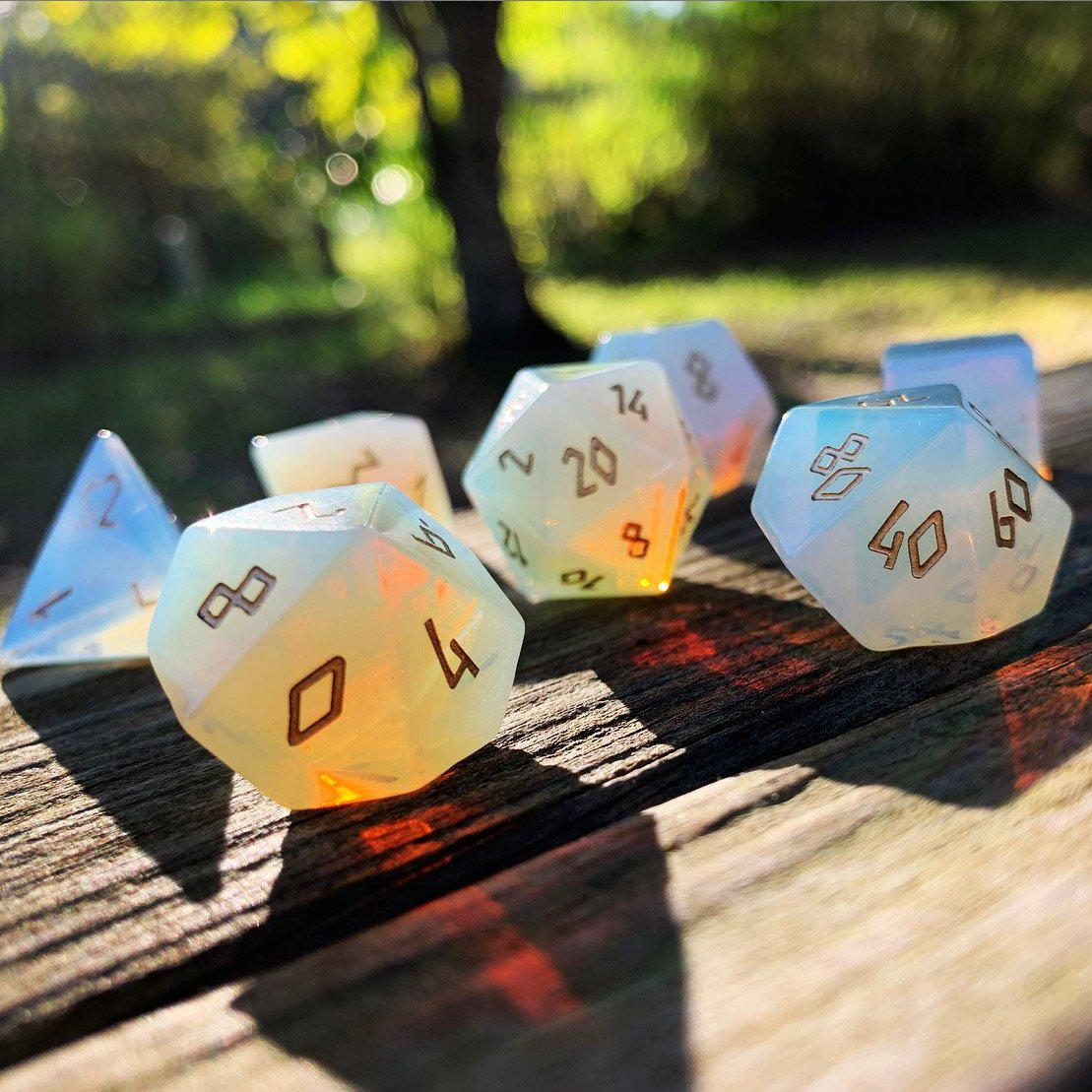 Opalite 7 Piece RPG Dice Set Gemstone