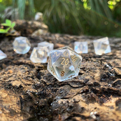 Clear Crystal with Gold Font - 7 Piece RPG Dice Set Gemstone
