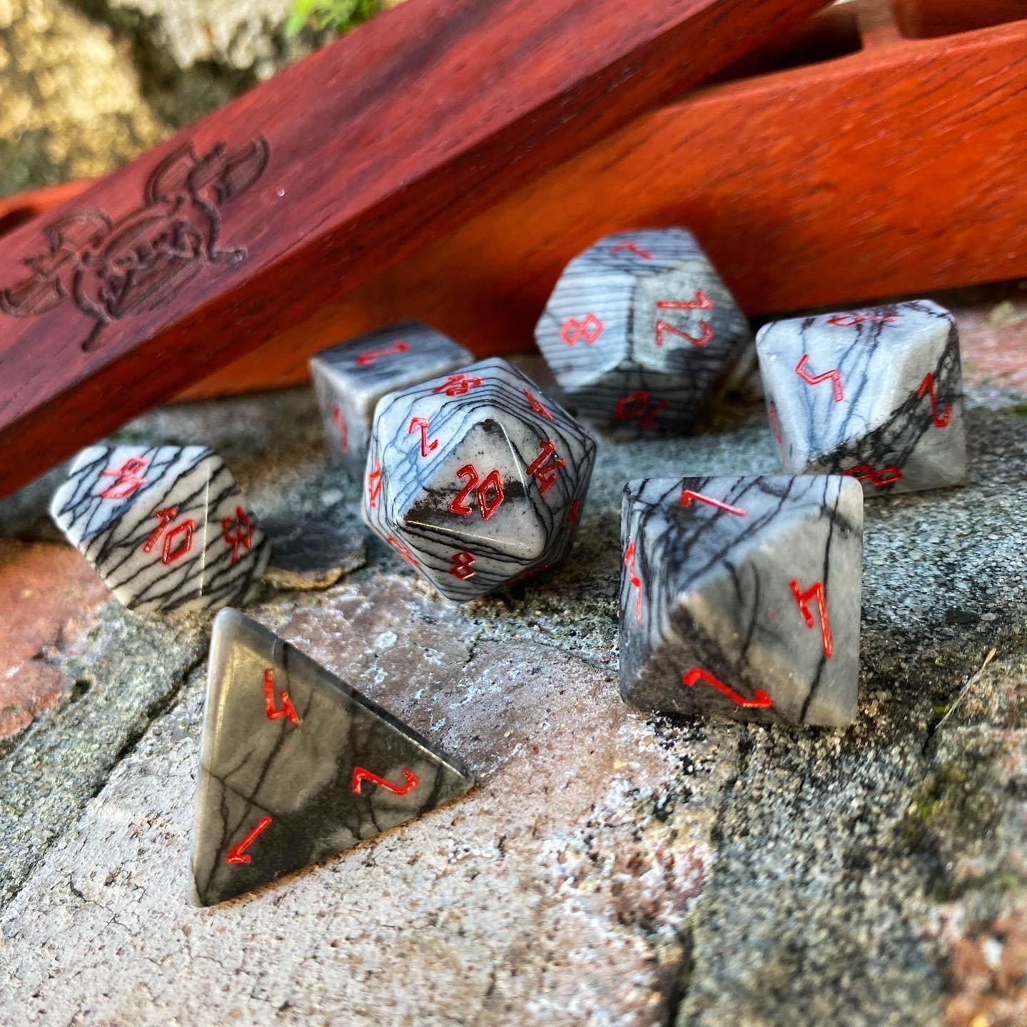 Black Network Agate - 7 Piece RPG Dice Set Gemstone