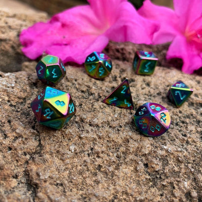 Queens Treasure Pebble ™ Dice - 10mm Alloy Mini Polyhedral Dice Set