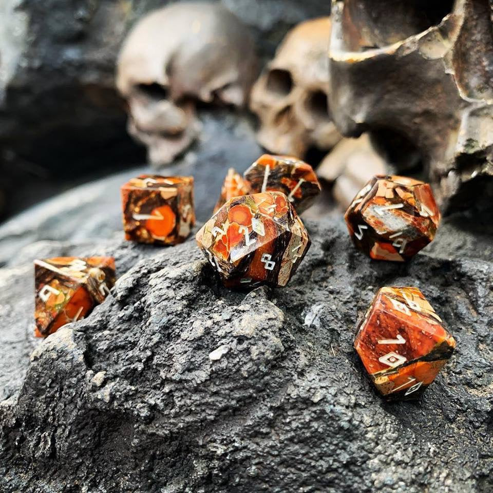Bronzite Orange Imperial Jasper TruStone Gemstone RPG Dice