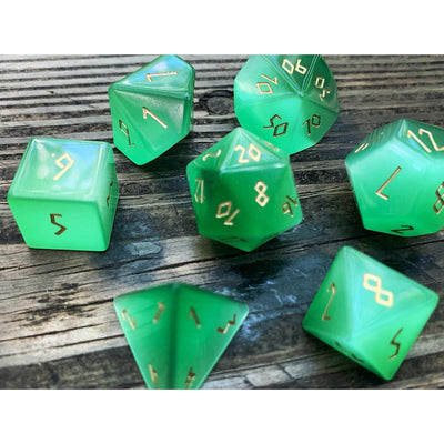 Green Cats Eye 7 Piece RPG Dice Set Gemstone