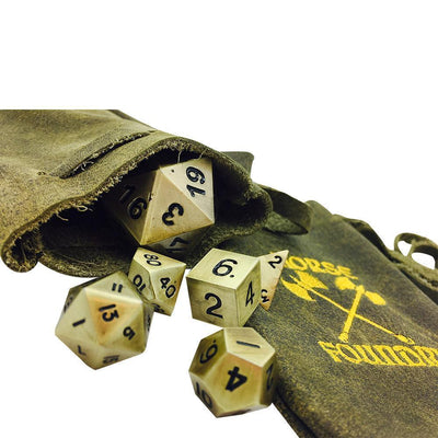 Ivy Green Leather Dice Bag-Leather Dice Bag-Norse Foundry-DND Dice-Polyhedral Dice-D20-Metal Dice-Precision Dice-Luxury Dice-Dungeons and Dragons-D&D-